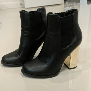 Black Ankle Boots with statement heel